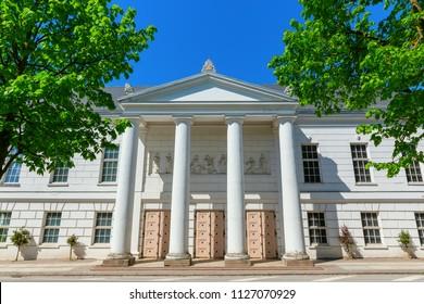historic theater building in Putbus, Ruegen, Germany