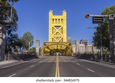 Historic Tower bridge leading towards the state capitol in Sacramento, California.