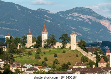 The historic towers of the Lucerne town wall