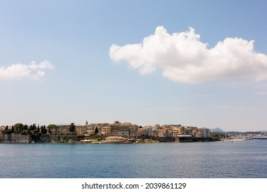 The historic town of Corfu island, Greece, as seen from the sea