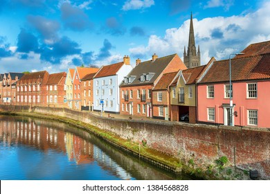 Historic town houses on Quay Side in the city of Norwich in Norfolk