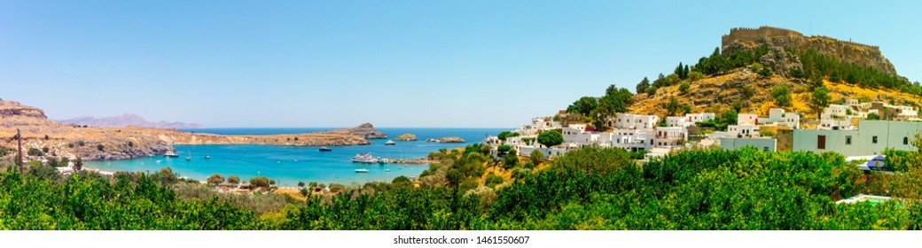 The historic town of Lindos with its beautiful bay and the Acropolis of Lindos