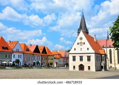 Historic town square in Bardejov, Slovakia