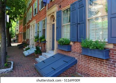 Historic Townhouse on Pine Street in old town Philadelphia, Pennsylvania, USA.