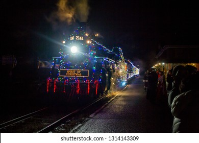 Historic train with christmas lights in Kamloops, British Columbia, Canada
