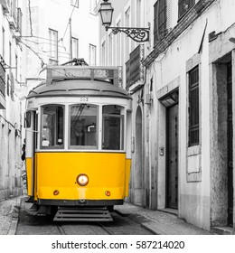 Historic tram in Alfama, Lisbon, Portugal