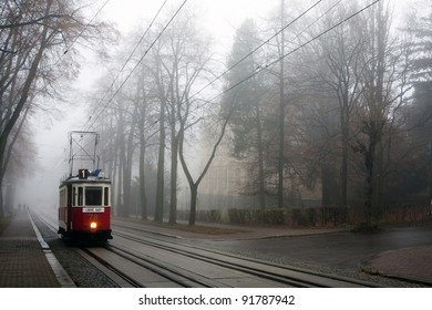 Historic tram in the fog