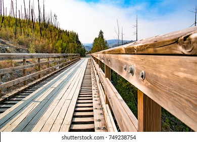 Historic Trestle Bridge and Railway near of Kelowna. Myra Canyon in British Columbia, Western Canada.