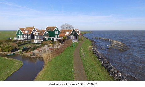 Historic typical dutch wooden houses in Marken.