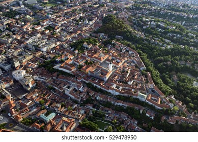 Historic Upper Town of Zagreb, Croatia, with St. Marks Church at the center. Aerial view.