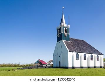 Historic village church Zeemanskerk in Oudeschild  on the Wadden island Texel in the Netherlands