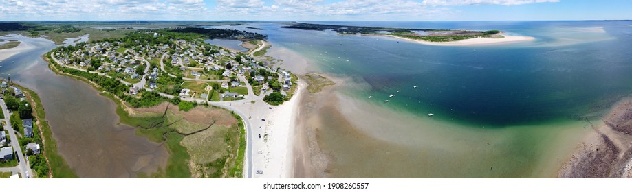 Historic village on Great Neck and Pavilion Beach aerial view at Ipswich Bay in town of Ipswich, Massachusetts MA, USA.