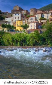 Historic village of Roquebrun in the Herault Departement of France