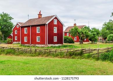 The historic village of Stensjo in Smaland, Sweden, as seen from a nearby field.
