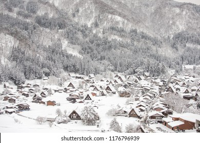 Historic Villages of Shirakawa-go and Gokayama, Japan in winter. Traditional style huts in Gassho-zukuri Village, Shirakawago, World Heritage Site.