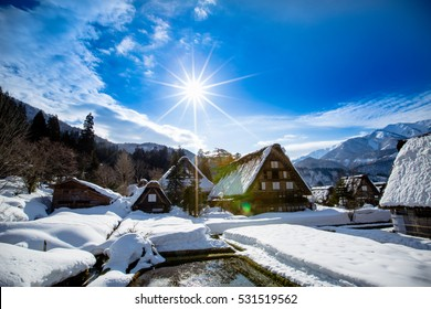 Historic Villages of Shirakawa-go and Gokayama, view of the sunset, Japan.Winter in Shirakawa-go/Japan.Traditional style huts in Gassho-zukuri Village, Shirakawago and Gokayama, World Heritage Site.
