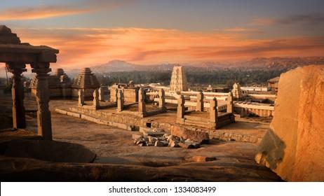 Historic Virupaksha temple in Hampi, India