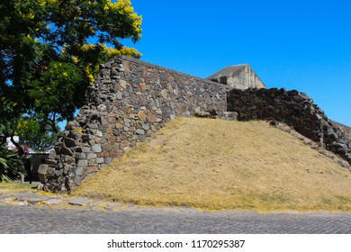 Historic Wall dividing the new and  old part of town or historic quarter of Colonia Del Sacramento , Uruguay, South America