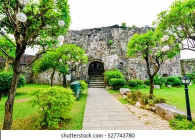 Historic walls of Fort Santiago, in Intramuros, Manila, The Philippines.