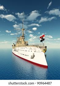 Historic Warship Computer generated 3D illustration