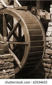 Historic water mill wheel