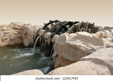 historic water wheel at Faiyum in Egypt