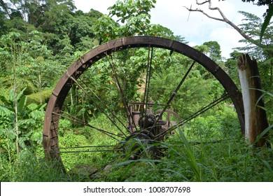 historic water wheel in Tobago