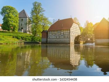 Historic watermill in Rheda-Wiedenbrueck, Westphalia, Germany. Schloss Rheda - Rheda-Wiedenbrück, Kreis Gütersloh, North Rhine Westphalia, Germany