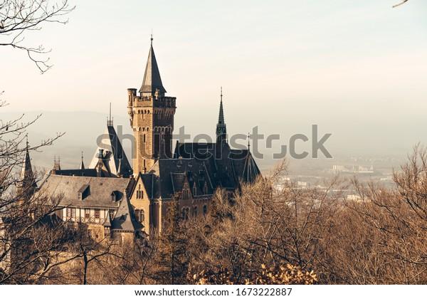 Historic Wernigerode castle at sunrise