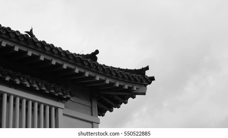 The historic white house of Japanese Himeiji Castle, ancient antique and unique style of gray tiles and gable roof with batten stencil windows of the building, Fortresses constructed of wood and stone