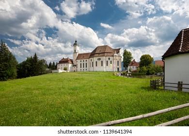 The historic Wieskirche church in Bavaria, Germany