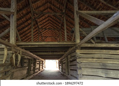 Historic wooden barn interior with hay loft in the Great Smoky Mountains National Park. This is a historical structure within a national park and not a privately owned property.  - Shutterstock ID 1896297472