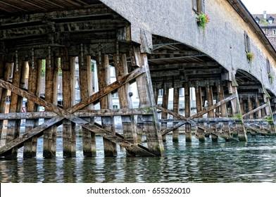 Historic wooden bridge Diessenhofen in Switzerland