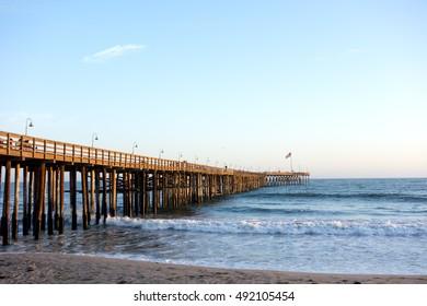 Historic wooden pier in city of San Buena Ventura, Southern California