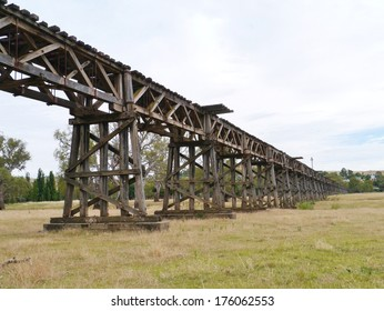 The historic wooden railway viaduct in Gundagai in Australia