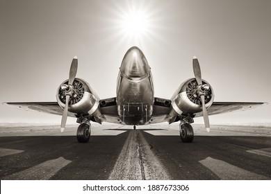 historical aircraft on a runway - Shutterstock ID 1887673306