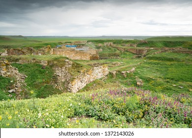 Historical ancient Frig city (the city where the king Midas lives). Gordion antique city ruins for Phrygians and Phrygia. High resolution photo. / Yassihoyuk, Ankara -Turkey