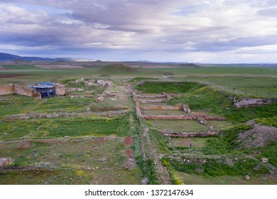 Historical ancient Frig city (the city where the king Midas lives). Gordion antique city ruins for Phrygians and Phrygia. Aerial view drone photo shooting. / Yassihoyuk, Ankara -Turkey