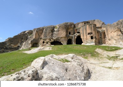 Historical ancient Frig (Phrygia, Gordion)  Valley, structures carved into rocks and Ayazini Church. Frig Valley is popular tourist attraction in the Ayazini, Afyon. / Turkey.