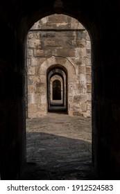 historical aqueduct. istanbul water dams. old stone building, window, door. Istanbul Moglova aqueduct