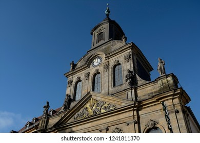 Historical architecture in Bayreuth.Pedestrian area.