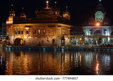 Historical architecture Golden temple in India near border Pakistan