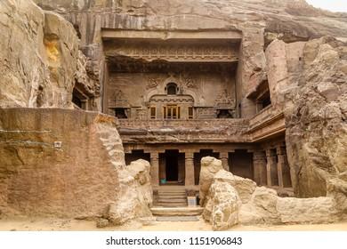 Historical Architecture: Inside of Ellora caves, UNESCO archeological site. Facade. Ellora Caves, Aurangabad, Maharashtra, India, Asia