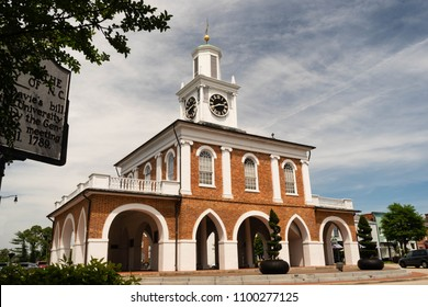Historical architecture inside a Hay Street roundabout in downtown Fayetteville, NC