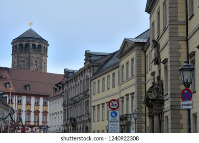 Historical architecture.The pedestrian area in Bayreuth.Germany