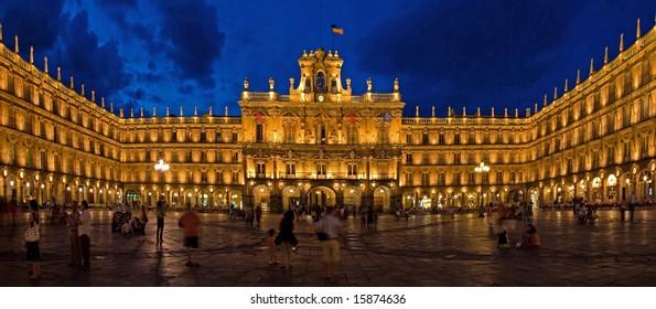 Historical Architecture of Plaza Mayor at Night, Salamanca, Spain