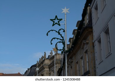 Historical architecture in the town of Bayreuth. Pedestrian area.Germany.