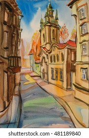 historical architecture, watercolor