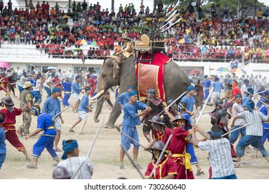 a historical army at the big Elephant show in the Stadium at the Elephant Round-up Festival in the city of Surin in Northeastern Thailand in Southeastasia, November 20, 2015. .