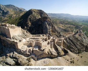 Historical artifact Yeni castle (Yeni Kale). The castle was built during the Commagene kingdom however the present look of castle dates back to Mamluks. Aerial Drone view. Adiyaman - Kahta / TURKEY